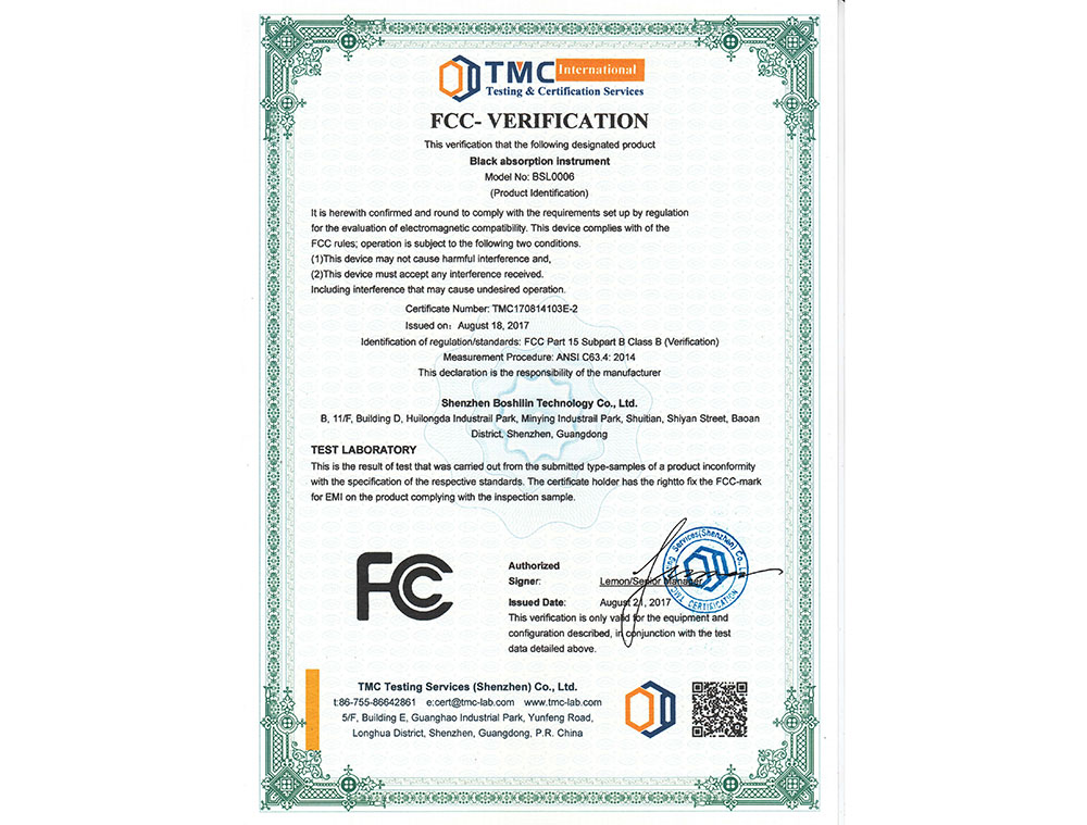 FCC Certificate - Ice Cool Hair Removal - TMC181224117-E